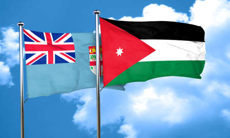jordan: Fiji flag with Jordan flag, 3D rendering