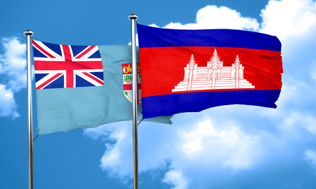 cambodian flag: Fiji flag with Cambodia flag, 3D rendering Stock Photo