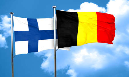 FINLAND flag: finland flag with Belgium flag, 3D rendering Stock Photo