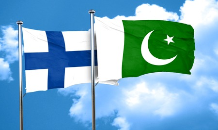 finland flag: finland flag with Pakistan flag, 3D rendering Stock Photo