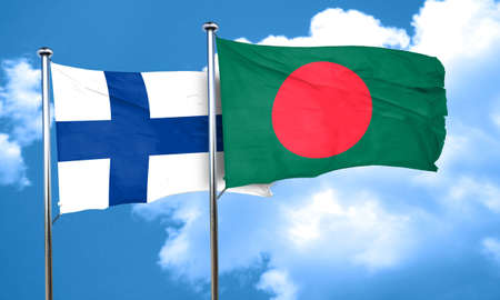 finland flag: finland flag with Bangladesh flag, 3D rendering