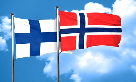 FINLAND flag: finland flag with Norway flag, 3D rendering Stock Photo