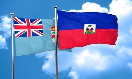 haiti: Fiji flag with Haiti flag, 3D rendering Stock Photo
