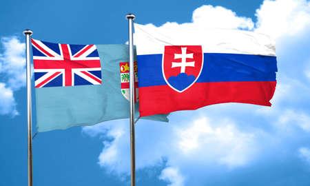 slovakia: Fiji flag with Slovakia flag, 3D rendering Stock Photo