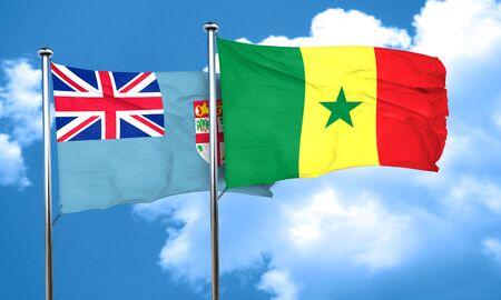 senegal: Fiji flag with Senegal flag, 3D rendering Stock Photo