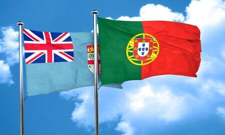 portugal flag: Fiji flag with Portugal flag, 3D rendering