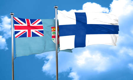 FINLAND flag: Fiji flag with Finland flag, 3D rendering Stock Photo