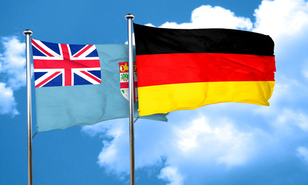 fiji: Fiji flag with Germany flag, 3D rendering