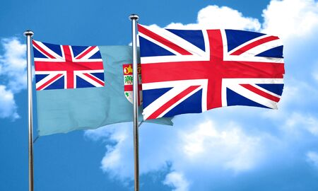 great britain flag: Fiji flag with Great Britain flag, 3D rendering