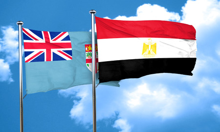 fiji: Fiji flag with egypt flag, 3D rendering Stock Photo