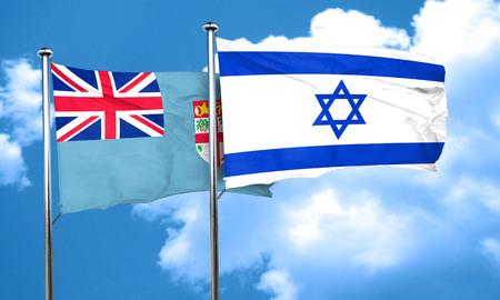 fiji: Fiji flag with Israel flag, 3D rendering