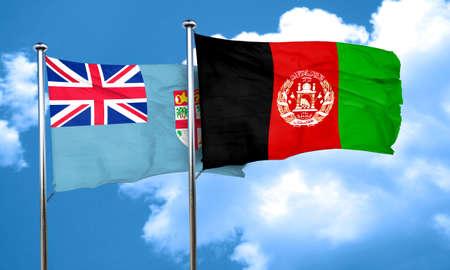 afghanistan flag: Fiji flag with afghanistan flag, 3D rendering