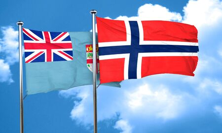 norway flag: Fiji flag with Norway flag, 3D rendering