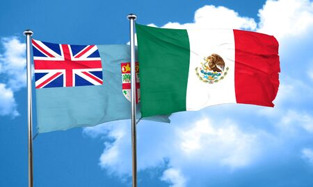 fiji: Fiji flag with Mexico flag, 3D rendering