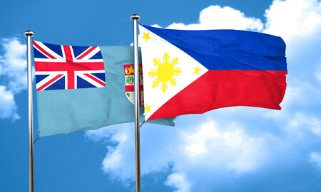 fiji: Fiji flag with Philippines flag, 3D rendering Stock Photo