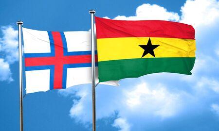 ghanese: faroe islands flag with Ghana flag, 3D rendering Stock Photo