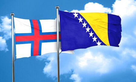 herzegovina: faroe islands flag with Bosnia and Herzegovina flag, 3D rendering Stock Photo