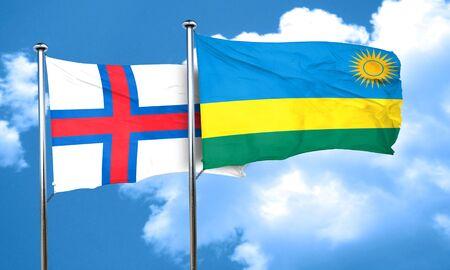 rwanda: faroe islands flag with rwanda flag, 3D rendering Stock Photo