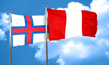 peru flag: faroe islands flag with Peru flag, 3D rendering Foto de archivo