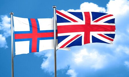 england politics: faroe islands flag with Great Britain flag, 3D rendering