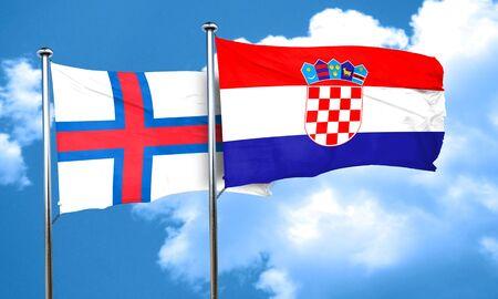 bandera croacia: faroe islands flag with Croatia flag, 3D rendering