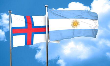 argentine: faroe islands flag with Argentine flag, 3D rendering