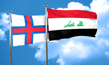 iraq flag: faroe islands flag with Iraq flag, 3D rendering