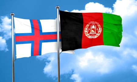 faroe islands flag with afghanistan flag, 3D rendering