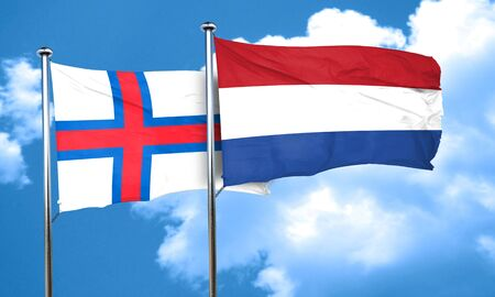 netherlands flag: faroe islands flag with Netherlands flag, 3D rendering Stock Photo
