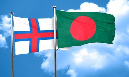 bangladesh: faroe islands flag with Bangladesh flag, 3D rendering