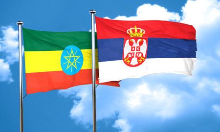 serbia flag: Ethiopia flag with Serbia flag, 3D rendering Stock Photo
