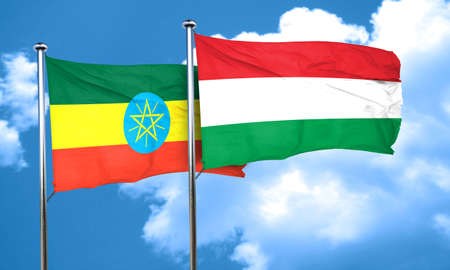 ethiopia  flag: Ethiopia flag with Hungary flag, 3D rendering Stock Photo