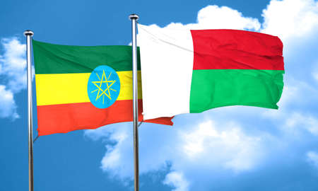 ethiopia flag: Ethiopia flag with Madagascar flag, 3D rendering