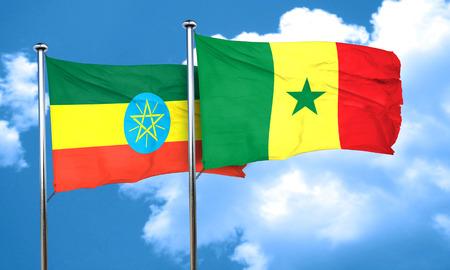 ethiopia flag: Ethiopia flag with Senegal flag, 3D rendering