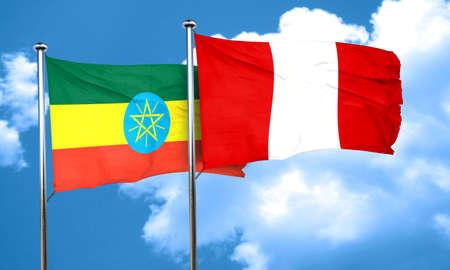 bandera de peru: bandera de Etiop�a con la bandera de Per�, 3D Foto de archivo