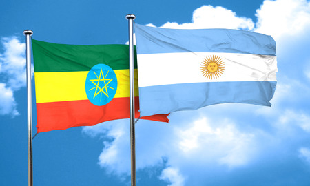 argentine: Ethiopia flag with Argentine flag, 3D rendering