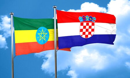 croatia flag: Ethiopia flag with Croatia flag, 3D rendering