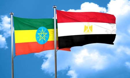 egypt flag: Ethiopia flag with egypt flag, 3D rendering Stock Photo