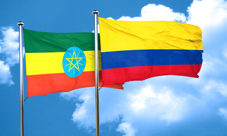 ethiopia  flag: Ethiopia flag with Colombia flag, 3D rendering