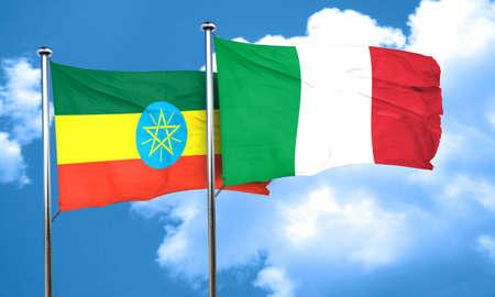 ethiopia flag: Ethiopia flag with Italy flag, 3D rendering