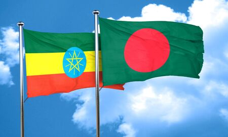 bangladesh: Ethiopia flag with Bangladesh flag, 3D rendering
