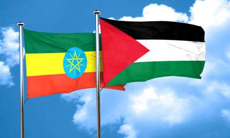 palestine: Ethiopia flag with Palestine flag, 3D rendering
