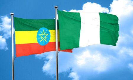 ethiopia flag: Ethiopia flag with Nigeria flag, 3D rendering