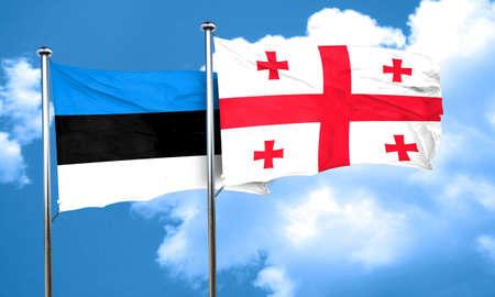 estonia: estonia flag with Georgia flag, 3D rendering