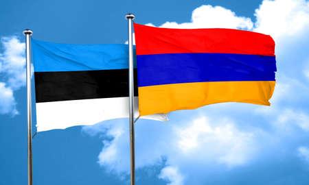 estonia: estonia flag with Armenia flag, 3D rendering Stock Photo