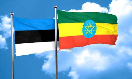 estonia: estonia flag with Ethiopia flag, 3D rendering