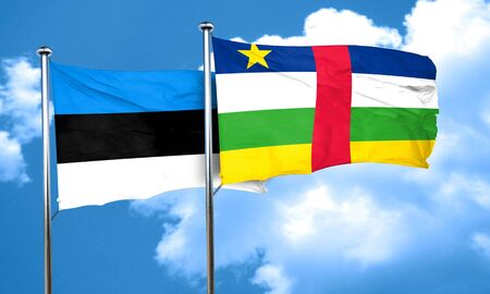 central african republic: estonia flag with Central African Republic flag, 3D rendering