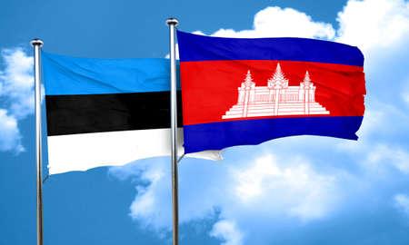 cambodian: estonia flag with Cambodia flag, 3D rendering