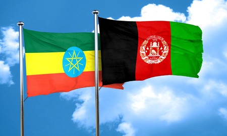 ethiopia  flag: Ethiopia flag with afghanistan flag, 3D rendering