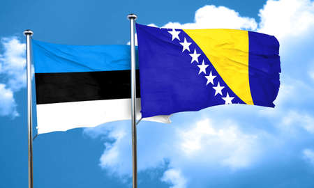 bosnia: estonia flag with Bosnia and Herzegovina flag, 3D rendering